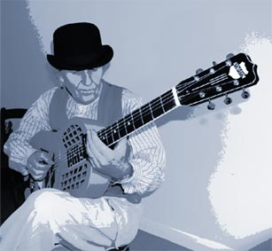 Glandfield playing slide guitar